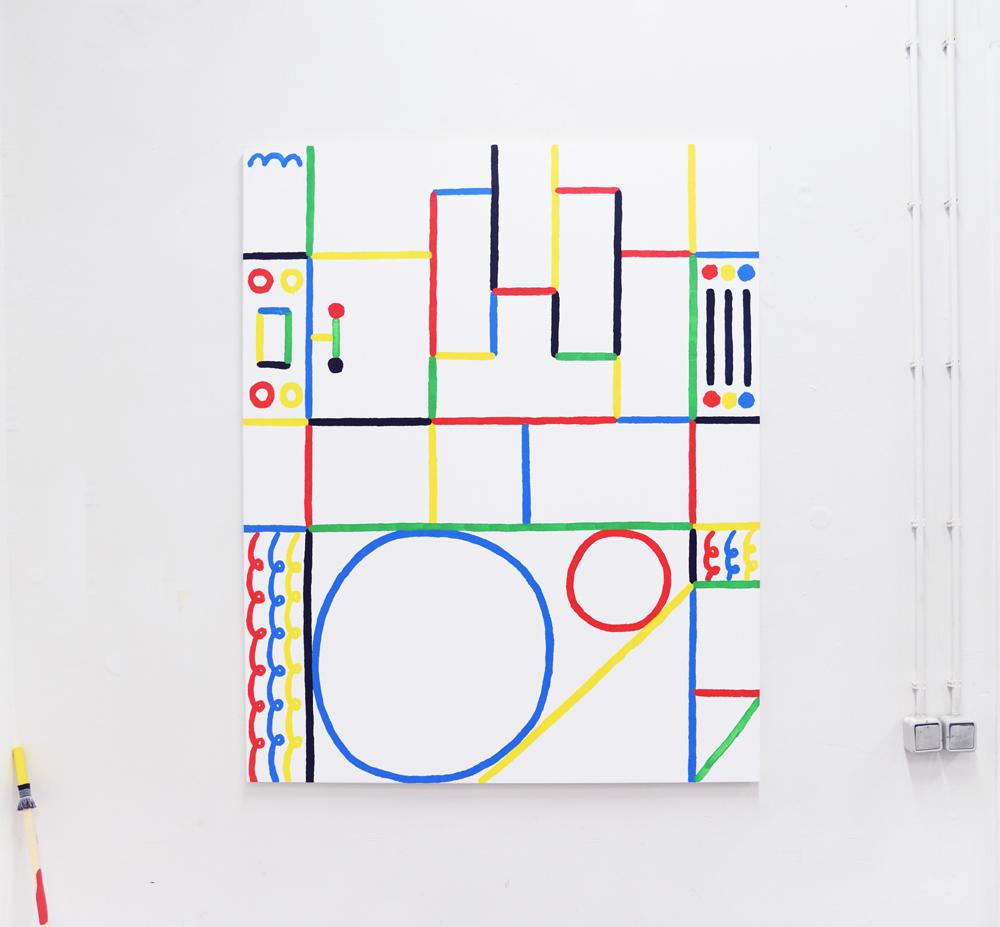 Grundfunken XIII. Acrylic on canvas. 120x150cm