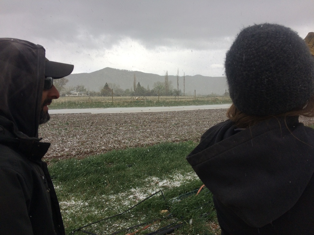 Mike and I watching it hail earlier in the week.
