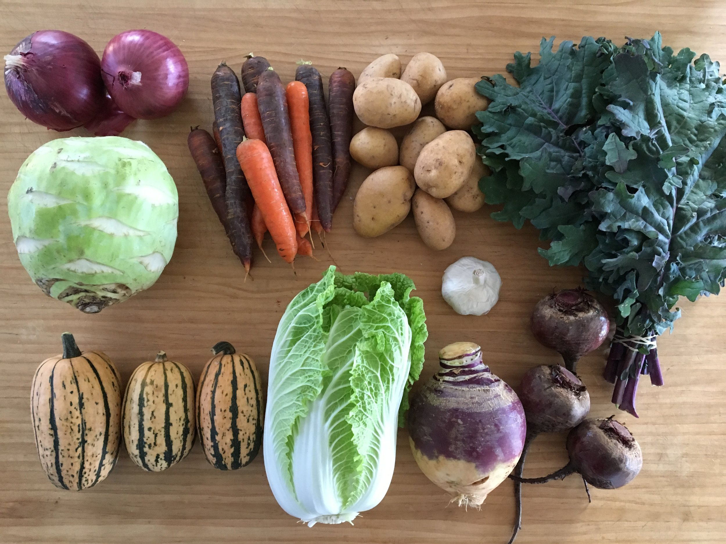Photo of last week's share, Fall CSA - Week #4