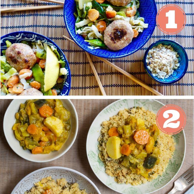 - Deux repas déjà cuisinésPeut se conserver 5 jours au frigoA réchauffer facilement (sous vide)Ingrédients frais et de saisonLivraison dimanche ou lundià Bruxelles et en BrabantsA partir de 8€ par portionCommandez avant Mercredi 19hRepas 1 : Boulettes vietnamiennes avec nouilles de riz et cacahuètesRepas 2 : Tajine de légumes, couscous aux amandes et au citron