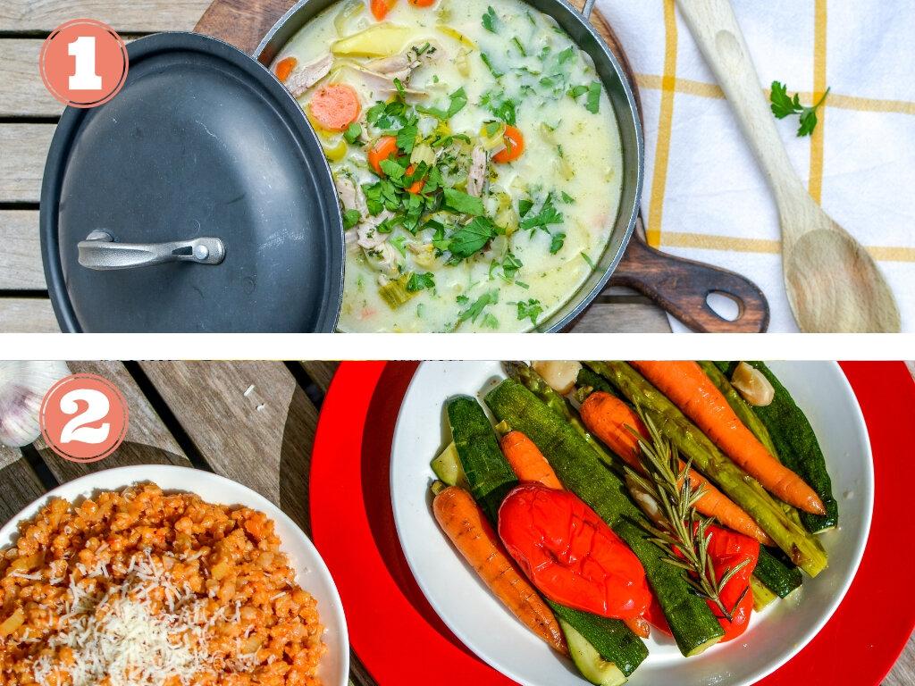 2 repas équilibrés cuisinés par des chefs  (1 plat à base de viande et 1 plat végétarien)