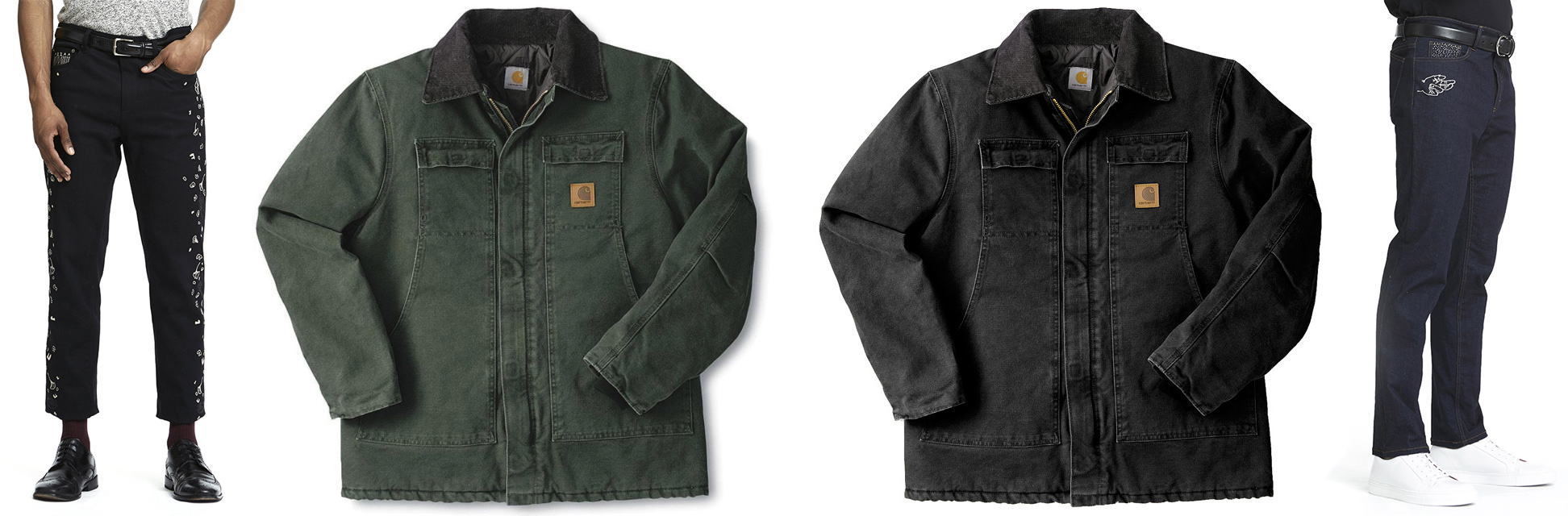 """""""Maupassant"""" Jeans, Carhartt Sandstone Traditional Coat in Moss and Black ($129.99), """"Pascal"""" Jeans."""