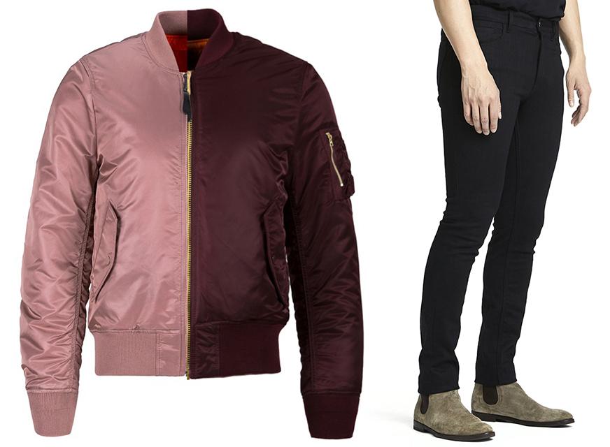 "Alpha Industries MA-1 Slim Fit Flight Jacket in Mauve and Maroon ($150), ""Jack"" Jeans."