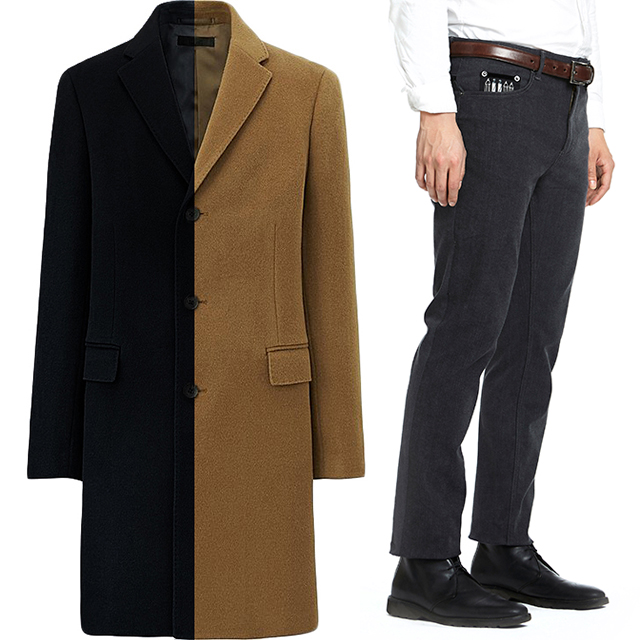 """Uniqlo Wool Cashmere Chersterfield Coat in Black and Brown ($129.99), """"Zola"""" Jeans."""