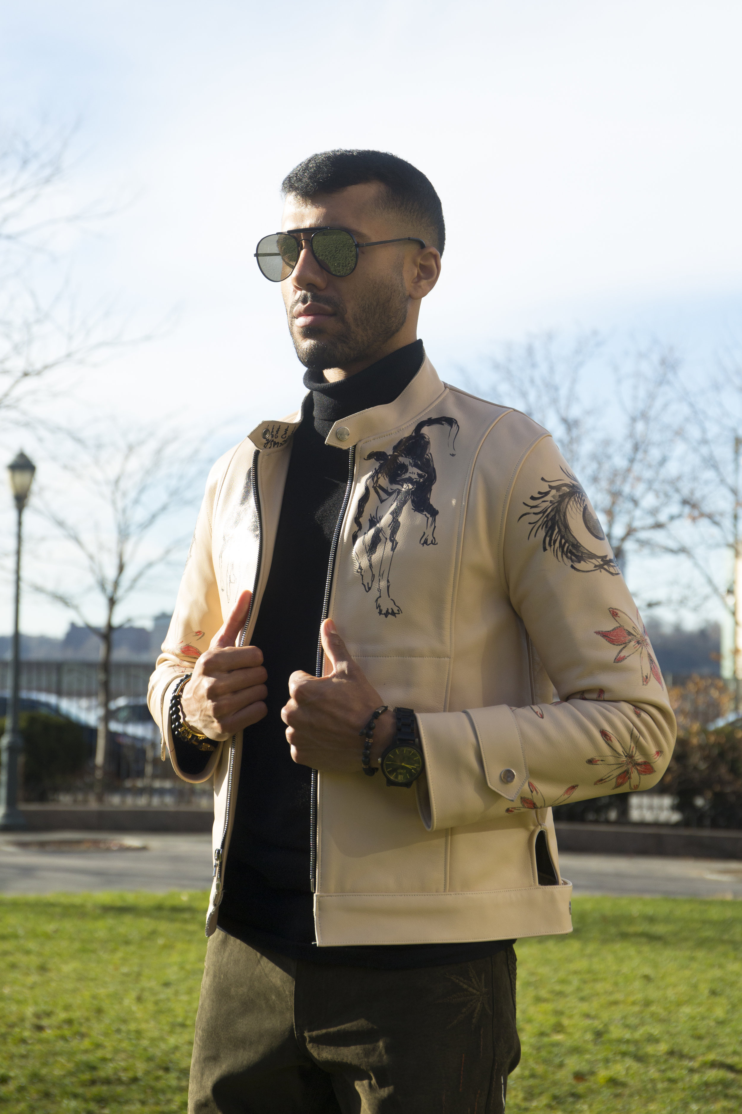 Kevin wearing Col. 001 Hugo and Col. 002 Leather Bomber