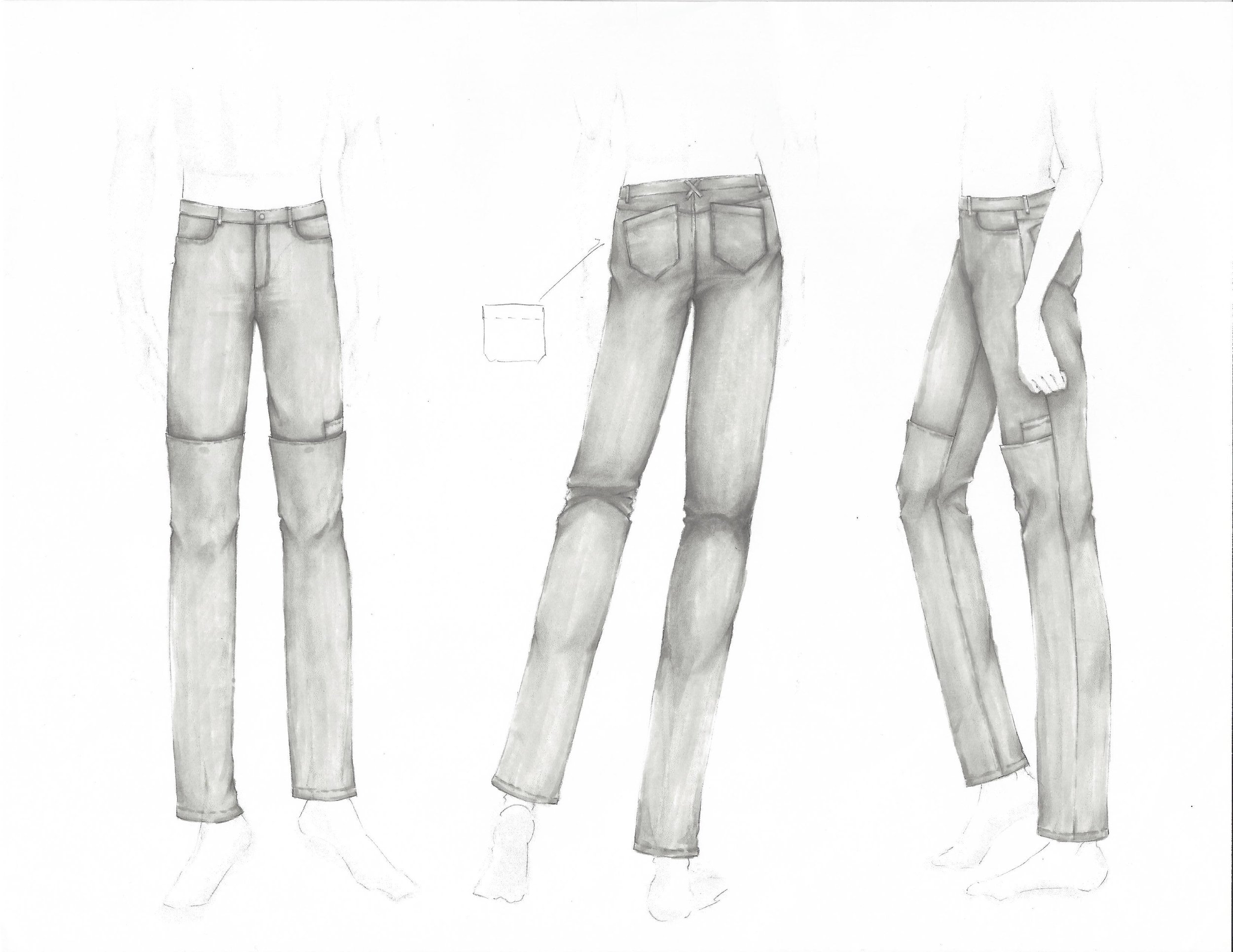 Khoman Room_Col. 003 Floating World_Wow Khoman_Sketch_Straight Leg Denim Jeans