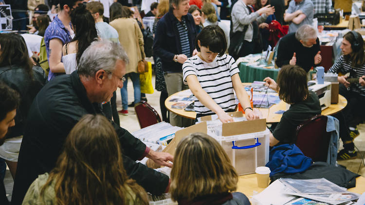 People attending the record fair