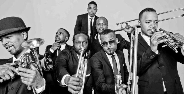 Hyptonic Brass Ensemble, black and white photo