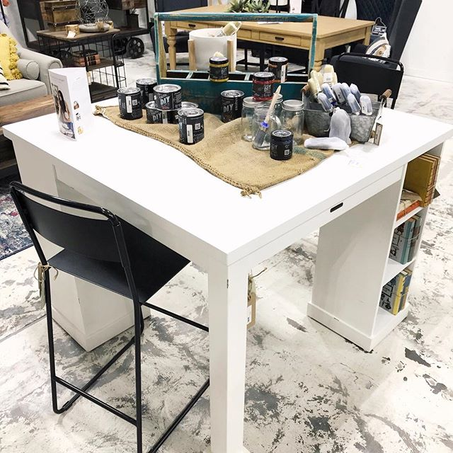 This Magnolia Craft Table is the perfect spot to craft with our DIY paint! Only available at our Moore location 🎨 . . . . . #reclaimedwarehouse #shoplocal #shopsmall #diypaint #crafty #paintparty #diy #magnolia #magnoliahome #ipreview via @preview.app