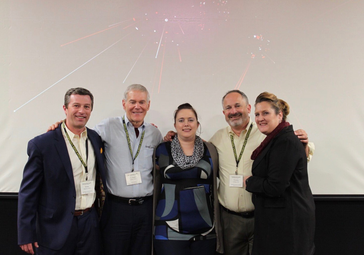 From left to right: Dr. Shawn Bergman, Dr. Scott Geller, Marnie Stein, Dr. Timothy Ludwig, and Connie Engelbrecht