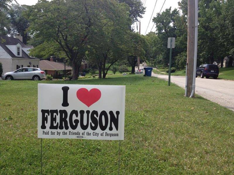 "A photo from iloveferguson.com of an ""I ❤ Ferguson"" lawn sign."