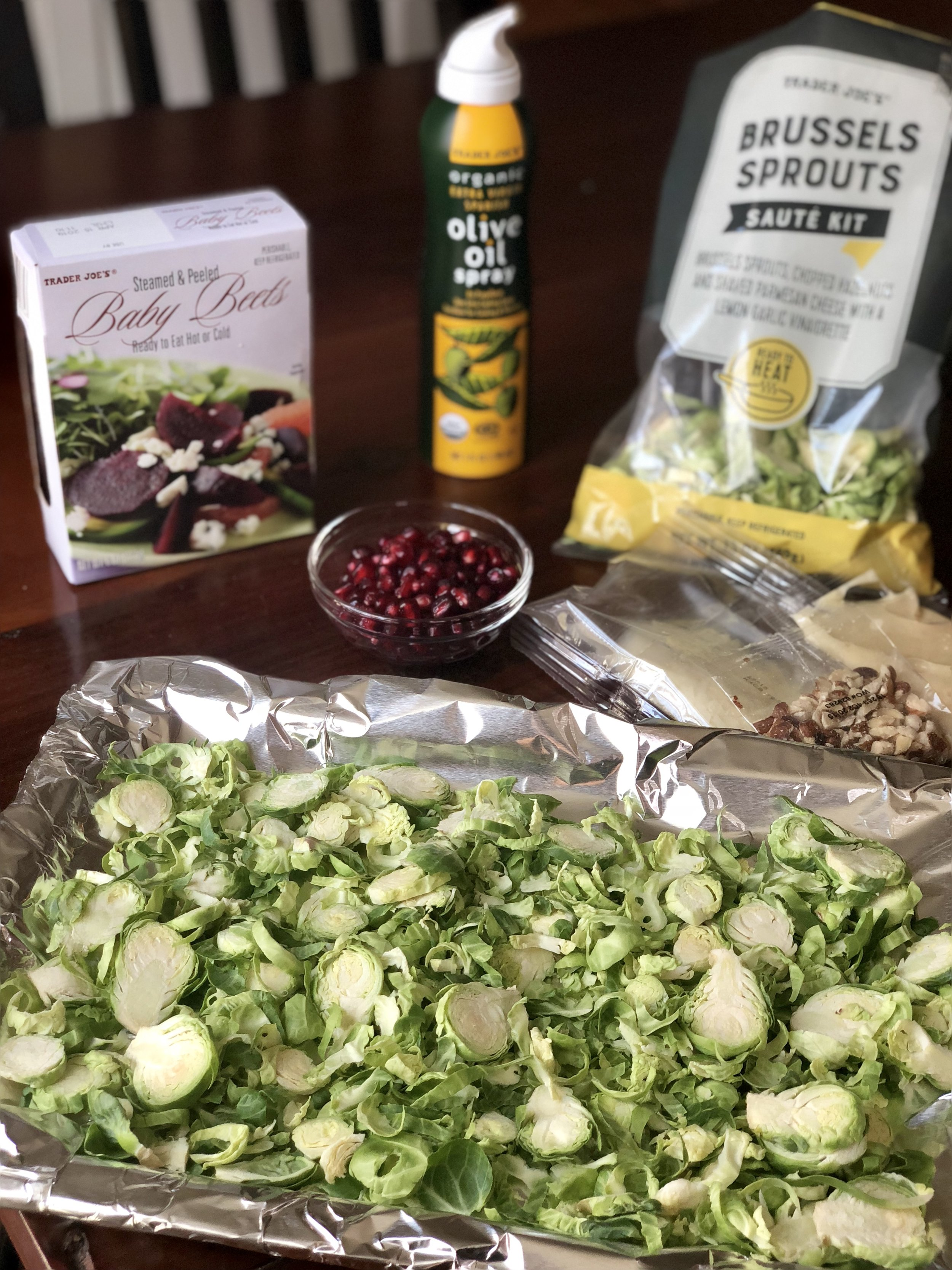 AAY Nutrition Recipe Trader Joe's Roasted Brussels Sprouts with Baby Beets & Pomegranate Seeds