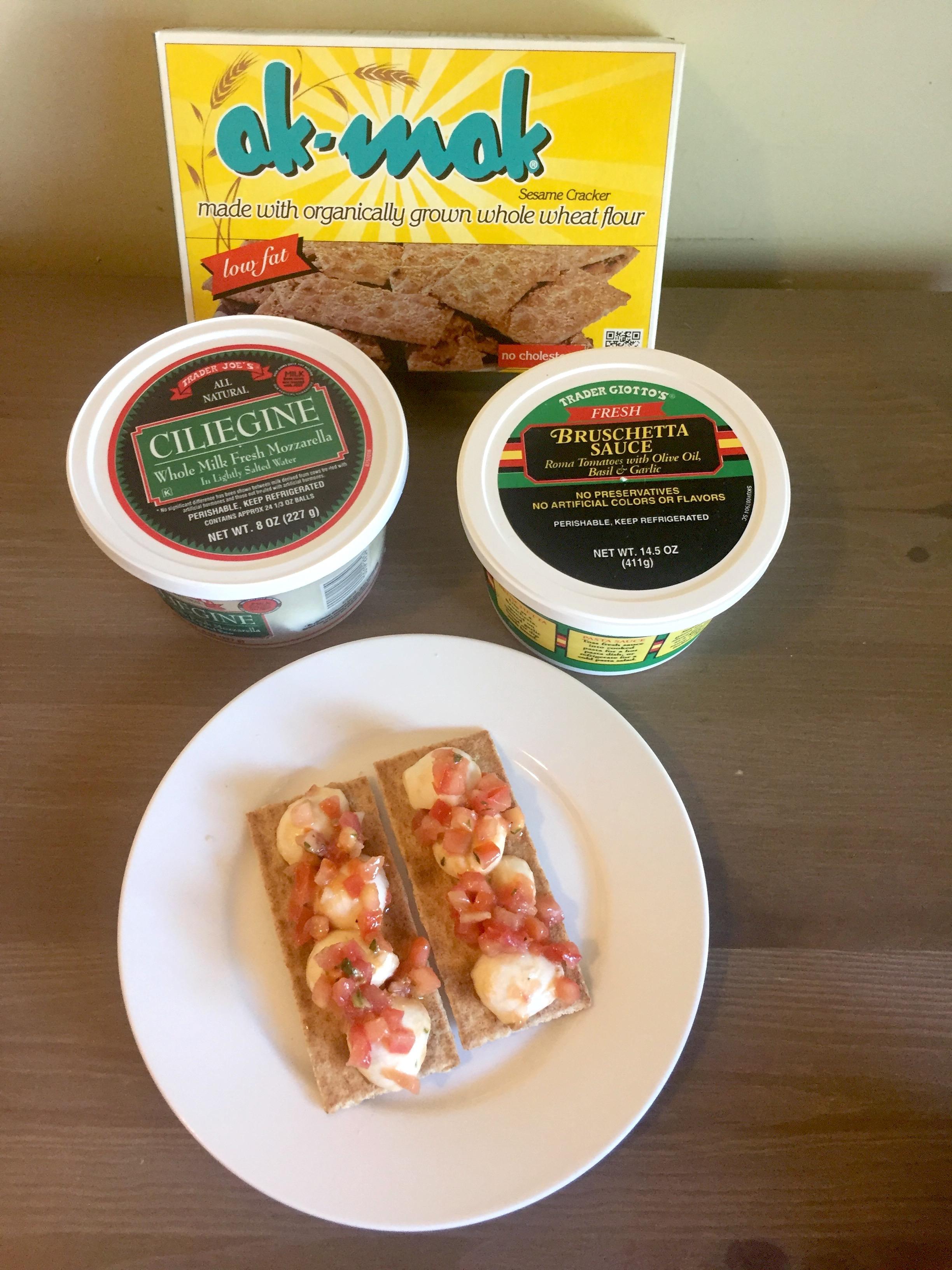 AAY Nutrition Trader Joe's Ak-Mak + Mozzarella + Bruschetta