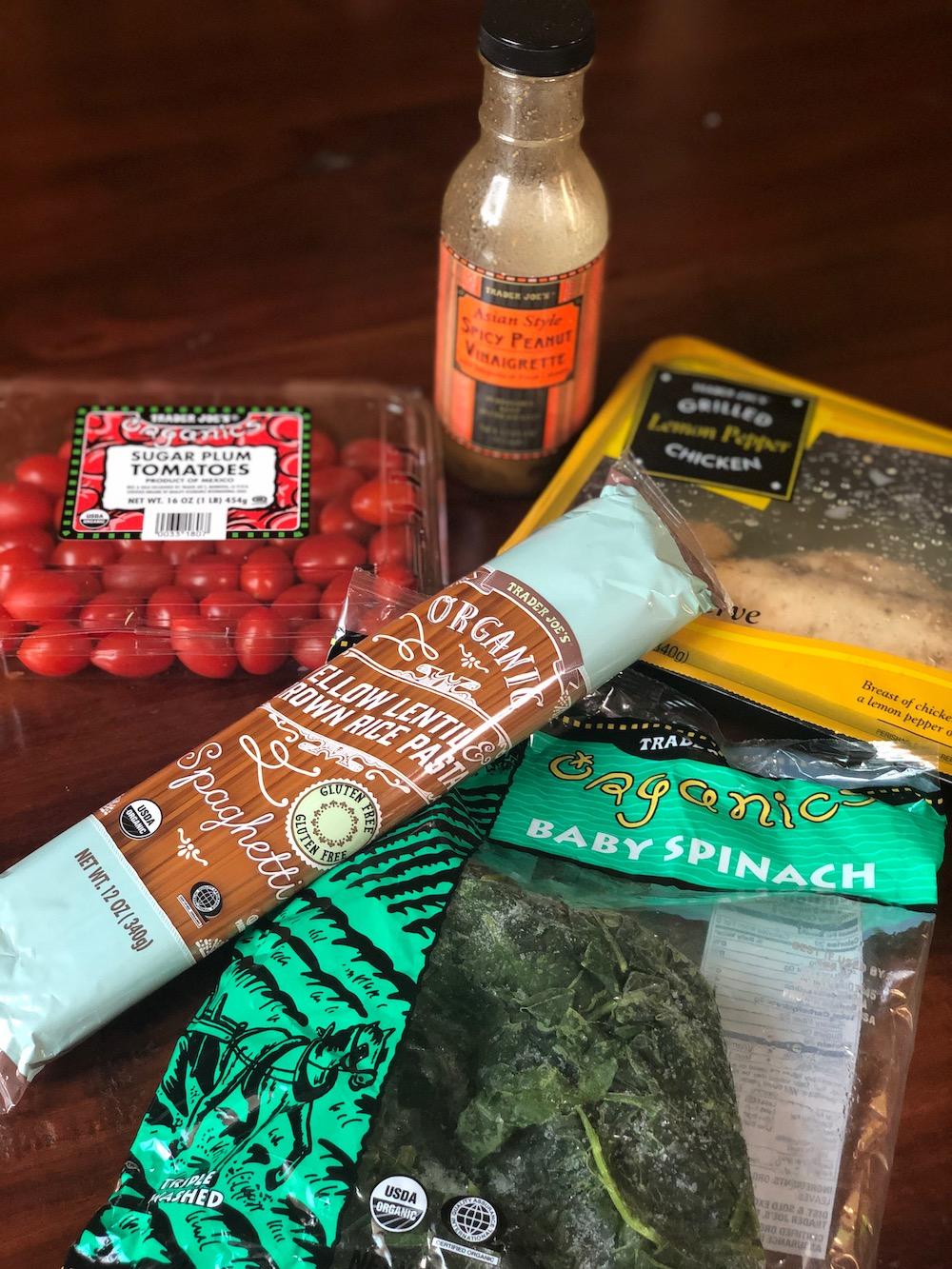 AAY Nutrition Recipe Trader Joe's Spicy Chicken Pasta Dinner Ingredients
