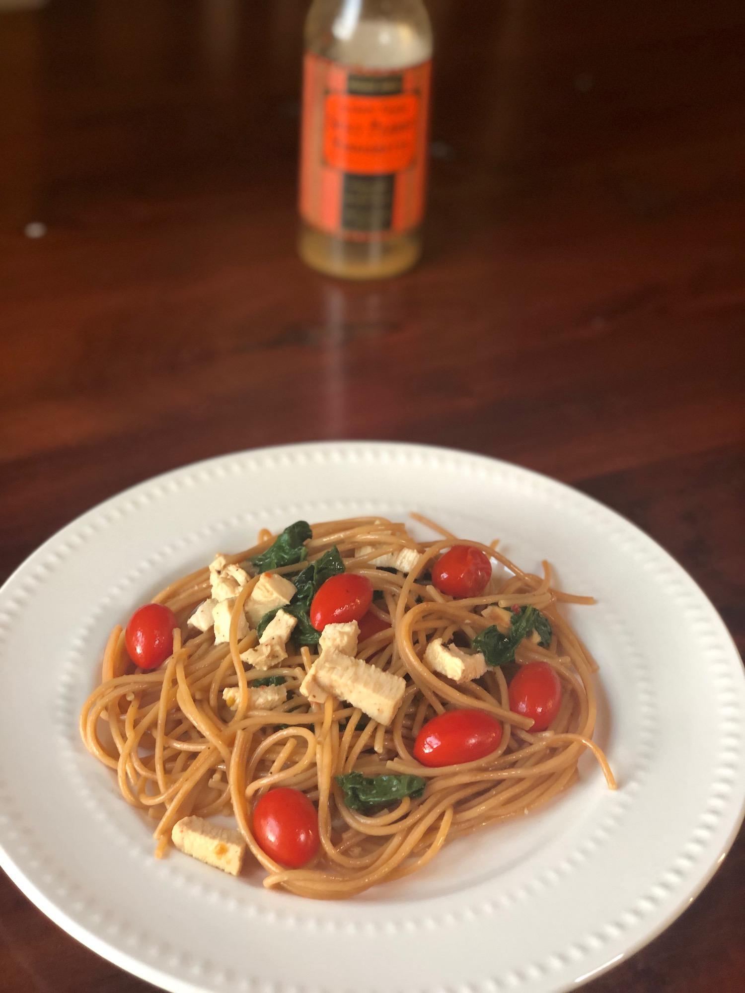 AAY Nutrition Trader Joes Spicy Chicken Pasta Dinner Recipe
