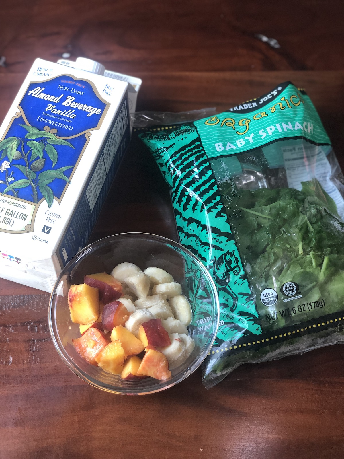 Healthy Eating at Trader Joes | Green Peach Smoothie