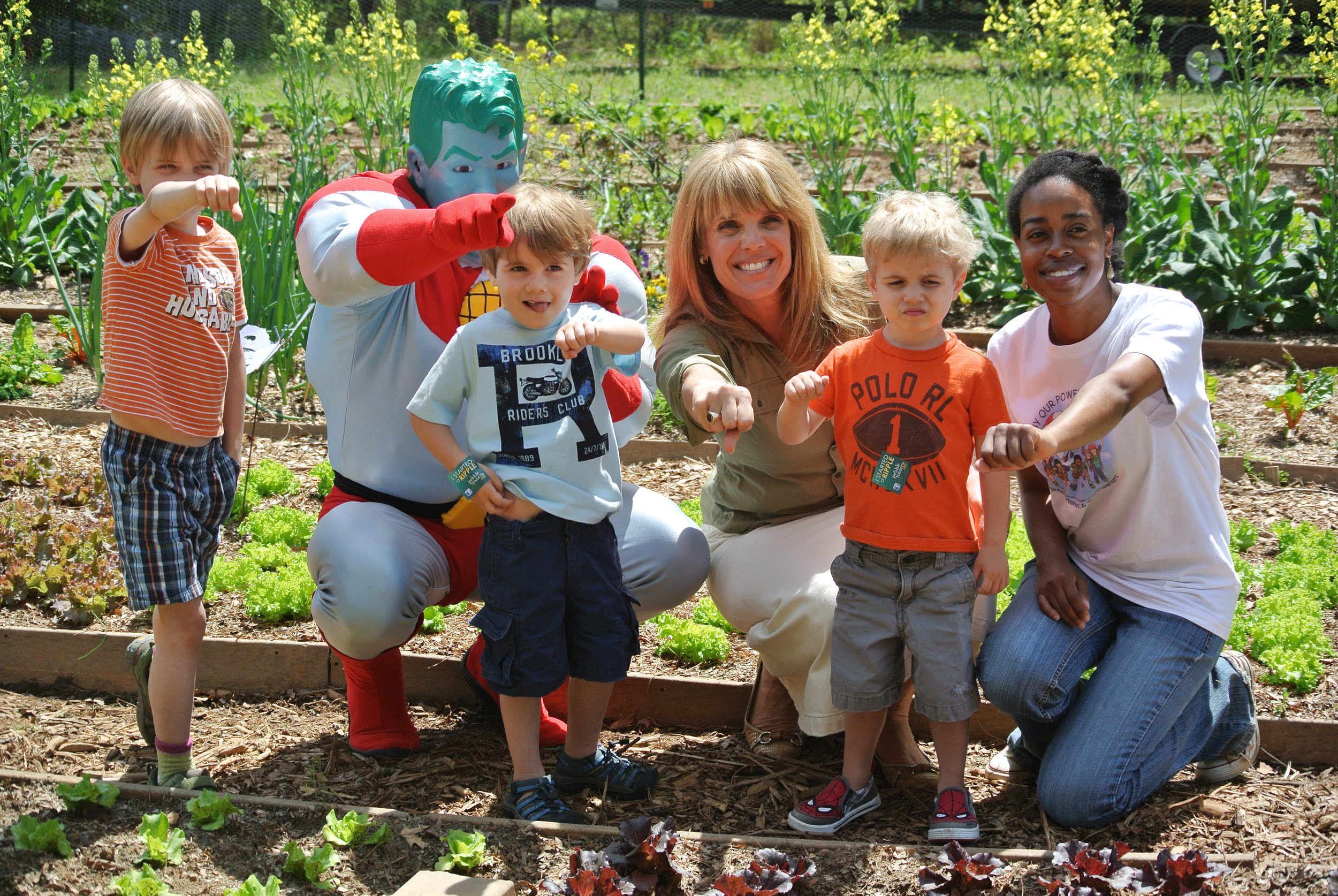 Laura Turner Seydel, Captain Planet and friends at the school gardens program.
