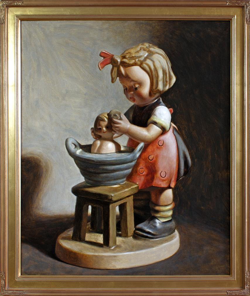 "Untitled (Hummel), oil on canvas, 23"" x 27"", 2014"