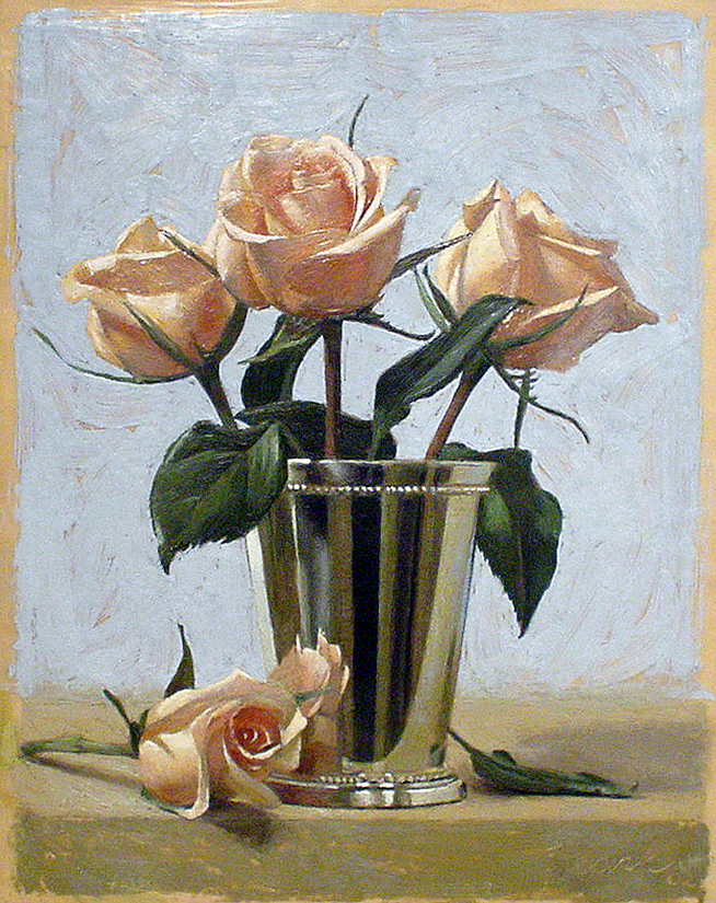 """Four Roses, encaustic beeswax on wood panel, 11"""" x 14"""", 2002"""