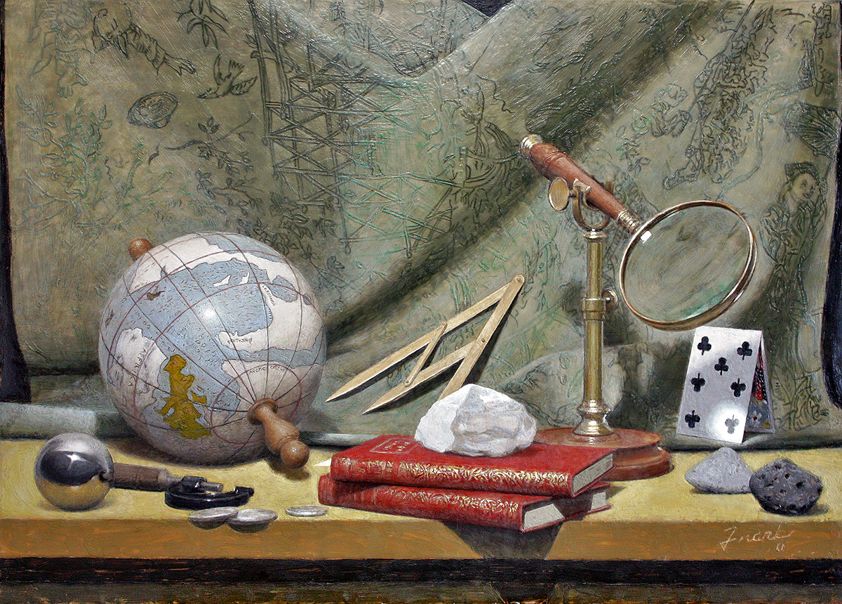 """Still Life with Moon Rocks, encaustic beeswax on wood panel, 21"""" x 30"""", 2011"""