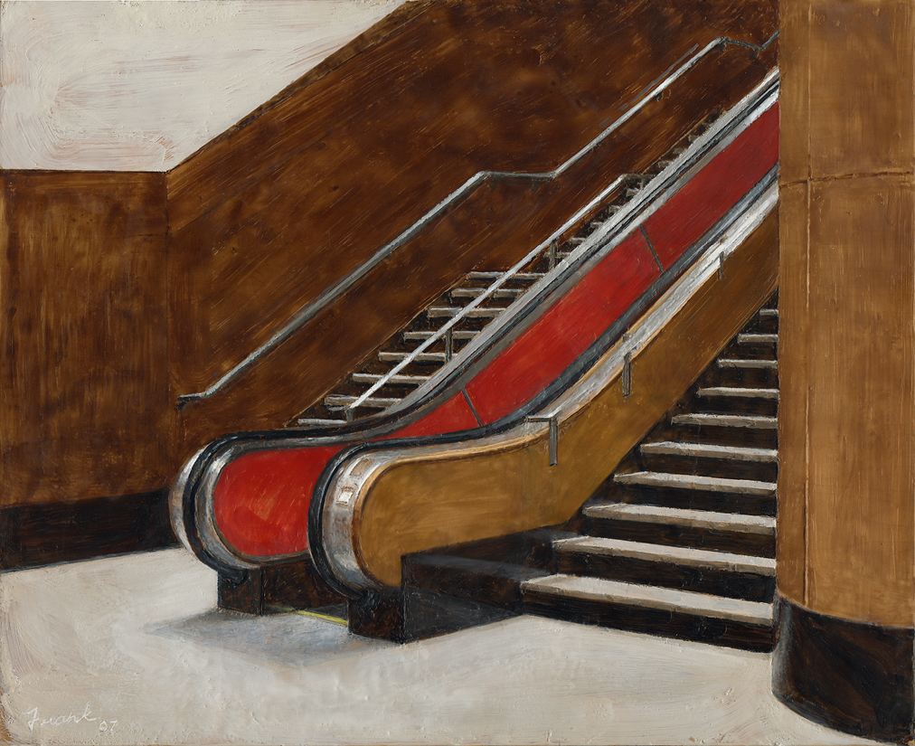 "Red Escalator, encaustic beeswax on panel, 18"" x 24"", 2007"