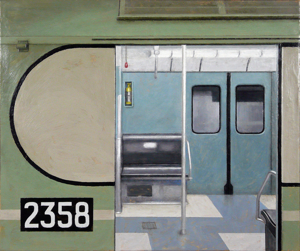 "Subway Interior 2, encaustic beeswax on wood panel, 20"" x 28"", 2008"