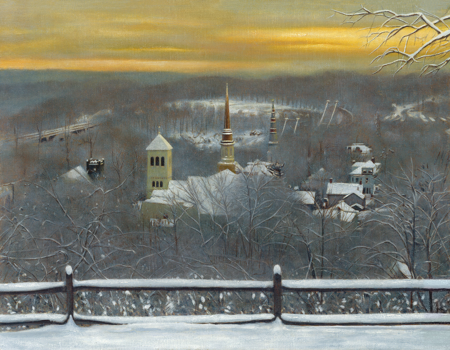 "A View of The Rondout from The Hill, Kingston, NY, 2019, oil on linen, 14""x 18"""