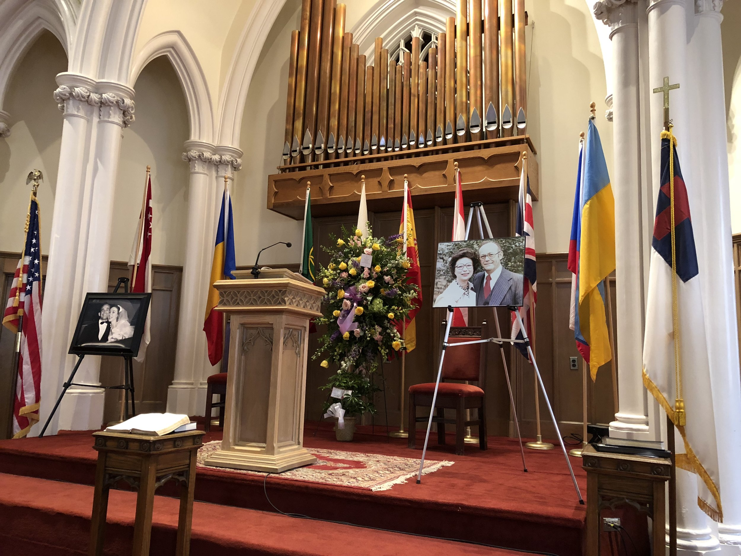 Flags of the nations were on display at Betty Malone's funeral, symbolizing her love for the nations and passion for the Great Commission.