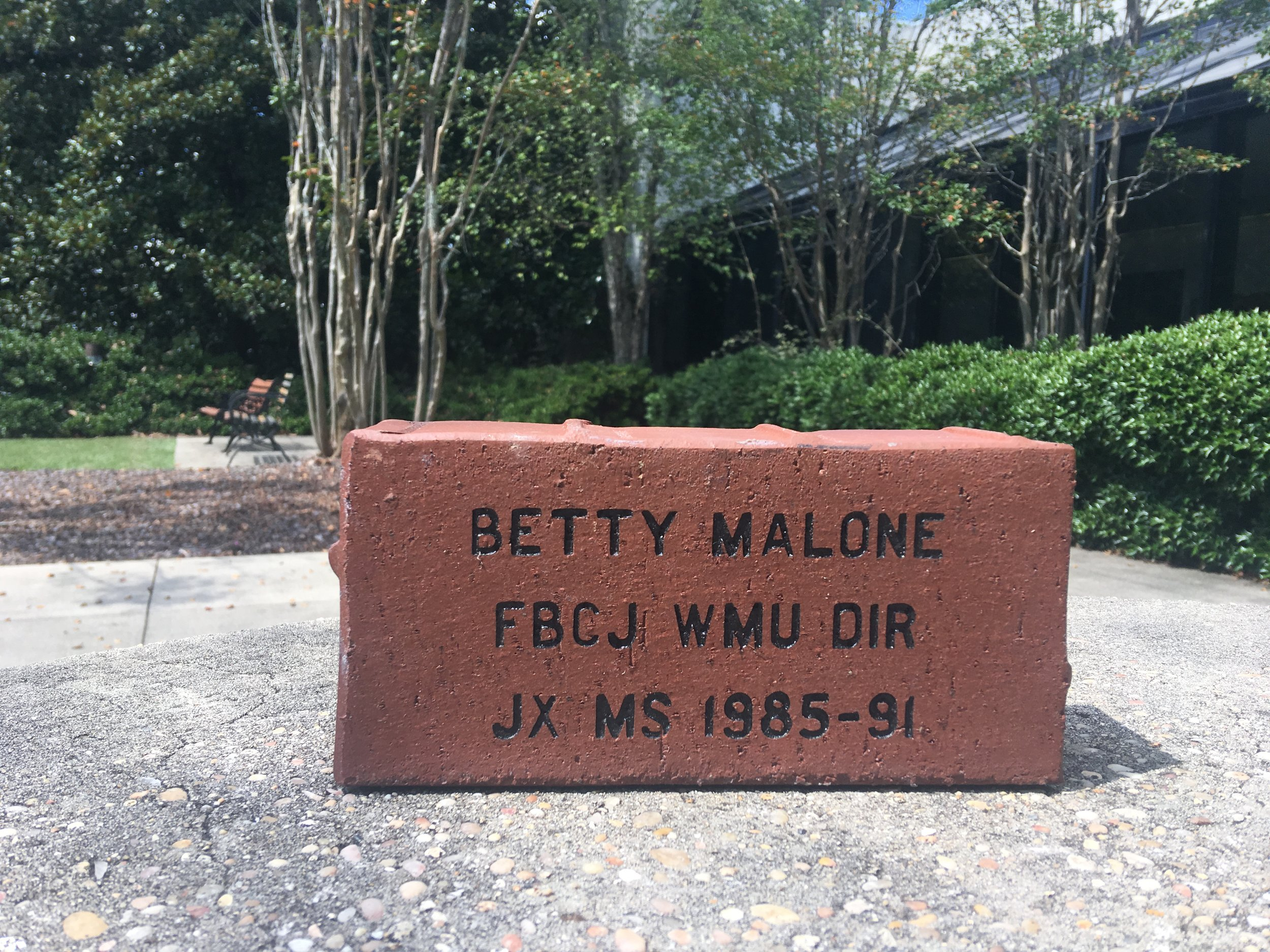 A brick was bought in memory of Betty Malone and her years of holding the missions banner.