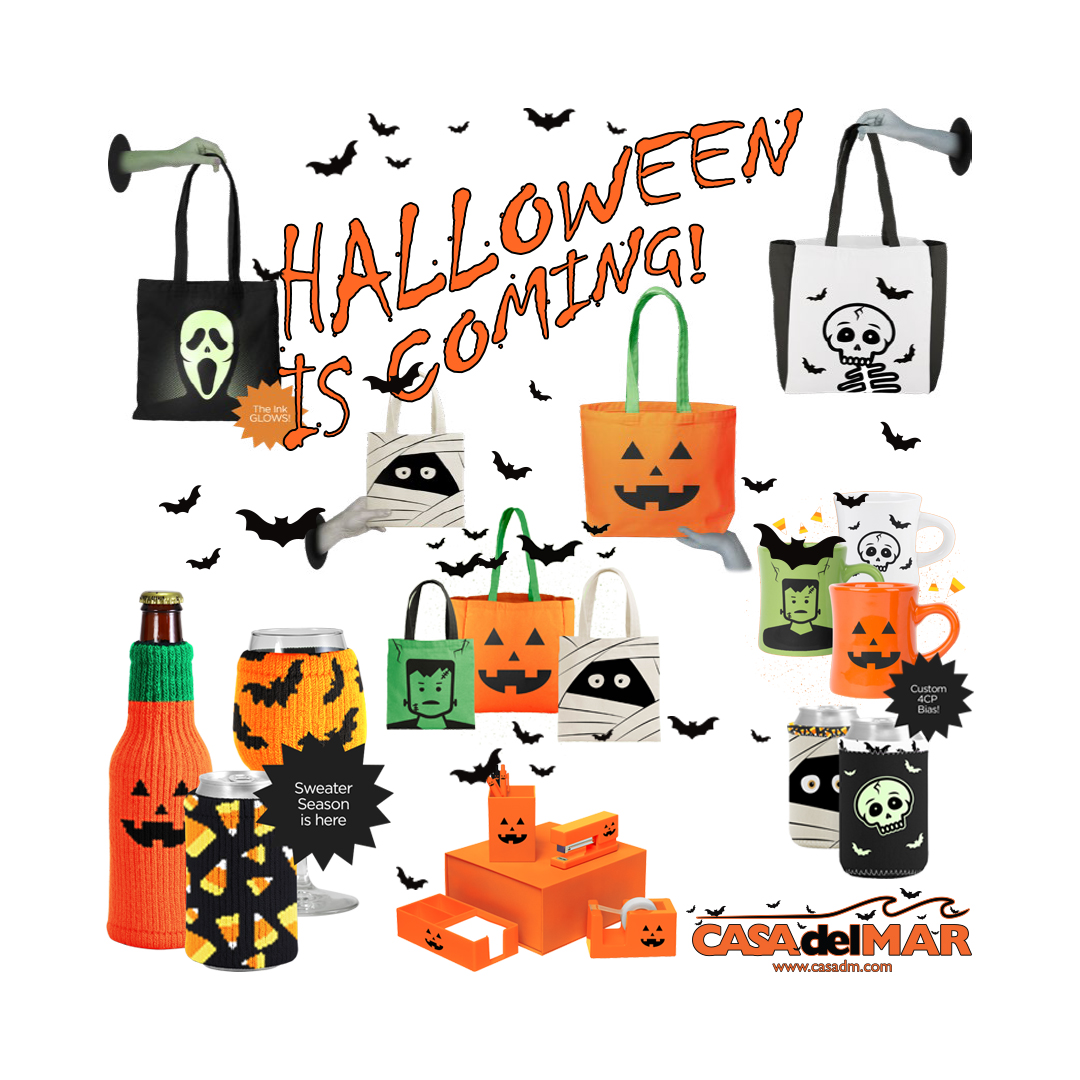 Halloween, Tote Bags, Bags, San Diego, Embroidery, Screen Printing, Graphic Design, Coozies, Mugs, Custom, Graphic Design, Logo, Branding, Promotional Products