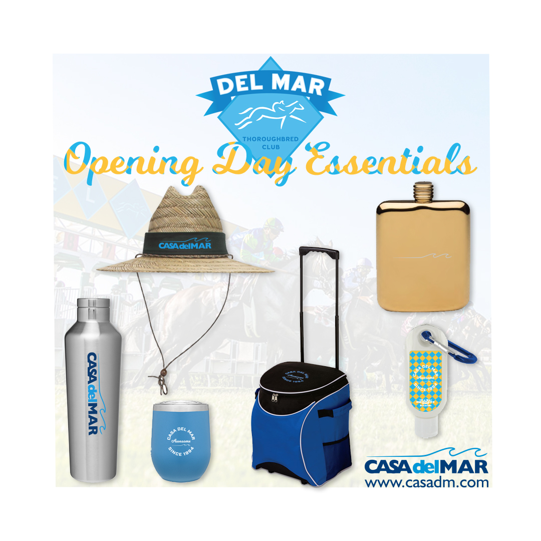 Del Mar, San Diego, Opening Day, Tumbler, Coolers, Sunscreen, Flask, Hats, Embroidery, Screen Printing, Thoroughbred Club, Del Mar Race Track