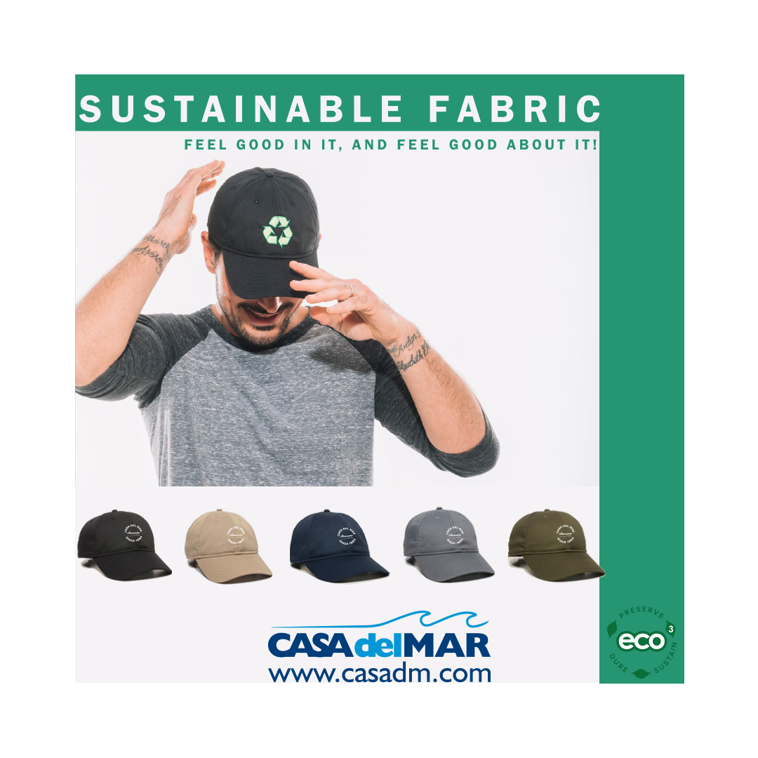 Eco Cap, Sustainable, Organic, Embroidery, Sustainable Caps, Sustainable Hats, San Diego, Promotional Products, Marketing, Branding, Earth Conscious, Plastic.