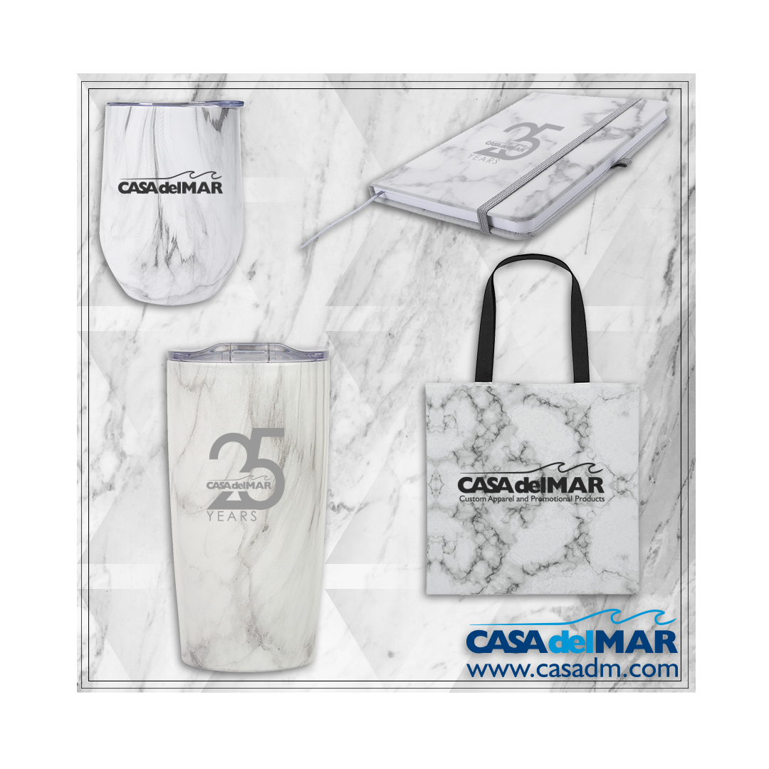Tumblers, Marble, Tote Bag, Wine Tumbler, Journal, Notebook, Faux, Construction Company, Stone, Promotional Products, Custom, Logo, Design, San Diego, Embroidery, Screen Printing, Laser Engraved