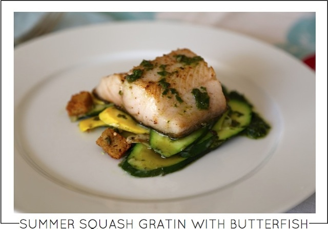 Recipe Summer squash gratin with butterfish