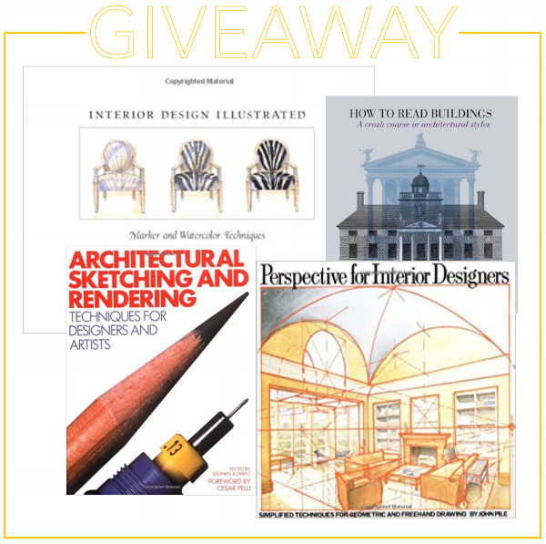 Giveaway for 5 great books on hand-rendering and drawing for interior designers