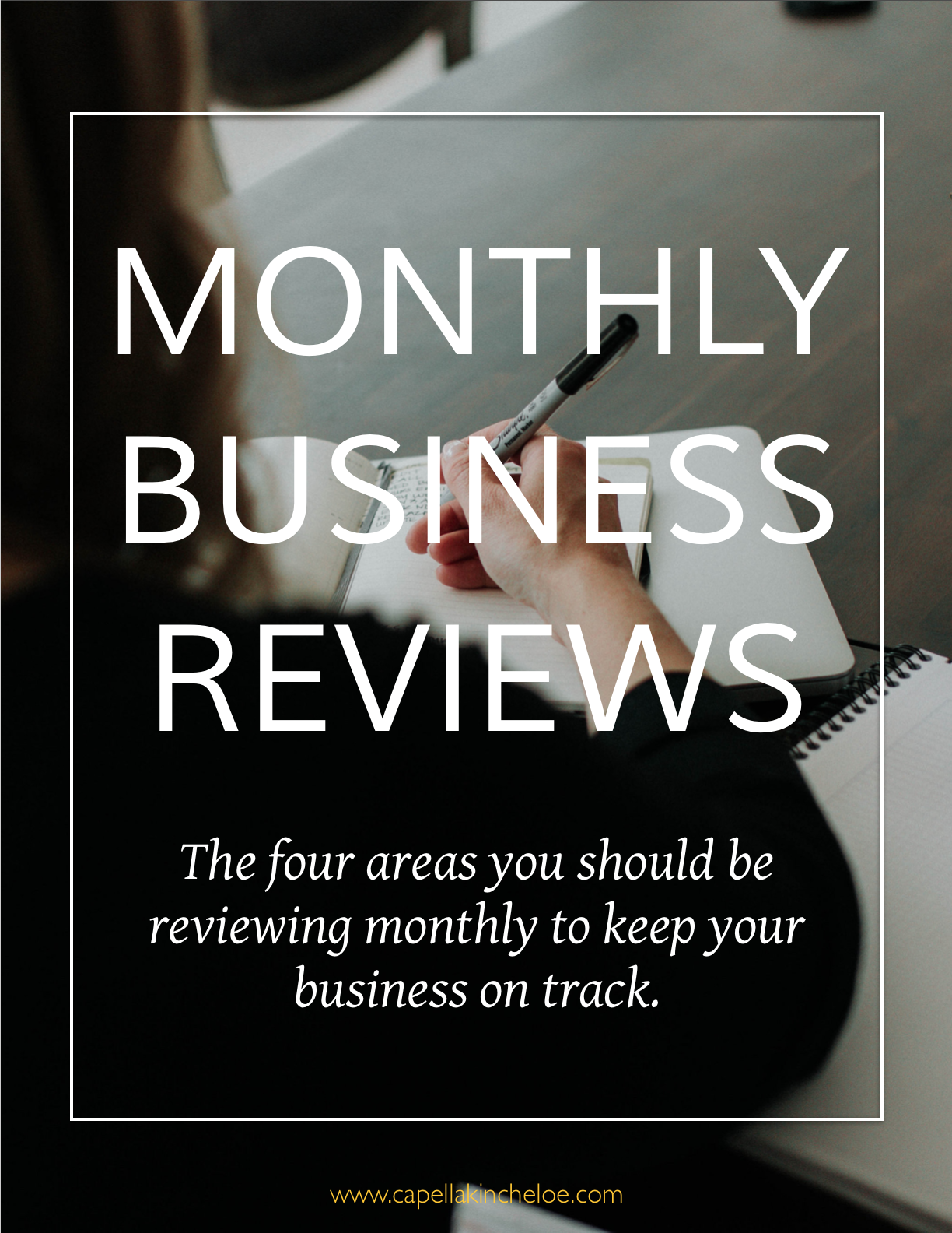 Want to know how your business stacks up? Schedule monthly reviews to make sure that your business is on track in four different areas. You'll be sure to know what needs more attention and what is growing faster than you imagined!