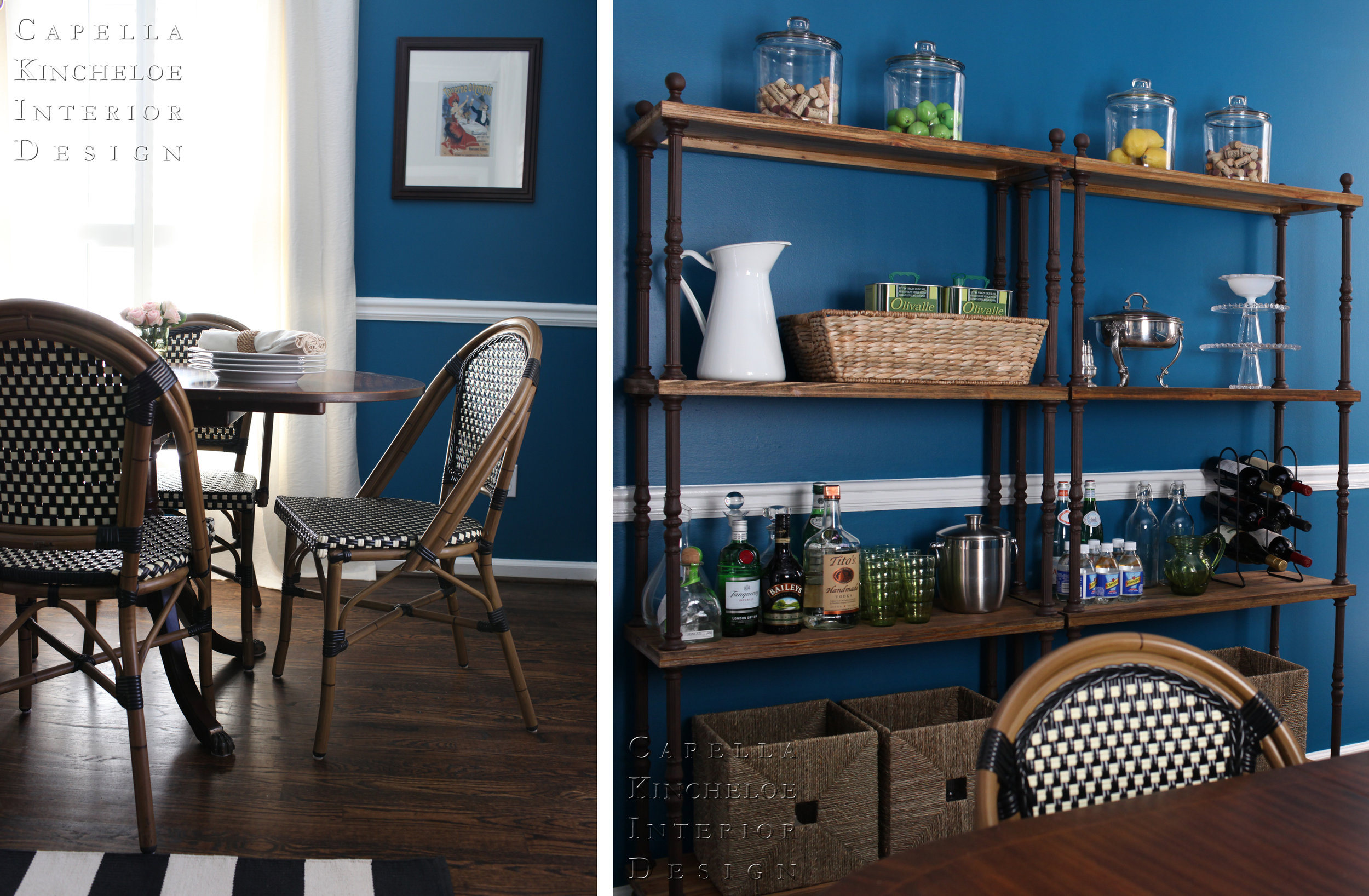 Atlanta dining room, blue walls, french bistro chairs, black, white, blue