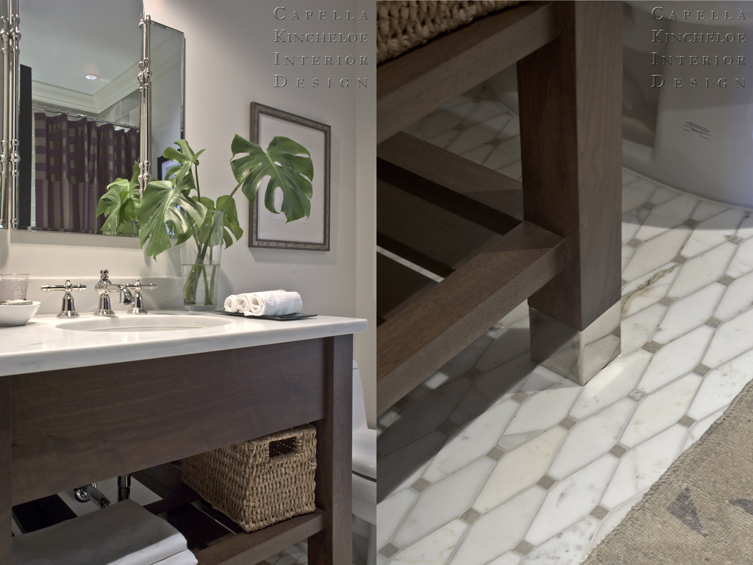 Cute transitional bathroom with Michael Smith for Kallista fixtures, custom vanity, mosaic floor tile