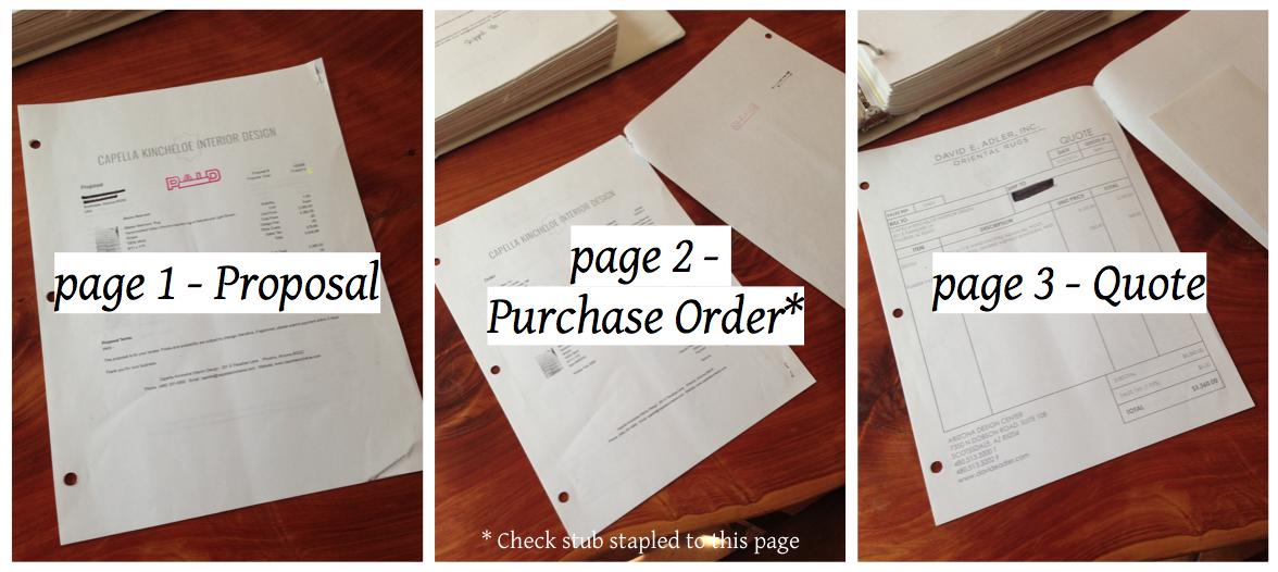 A peek inside interior design client item paperwork for interior design business project management