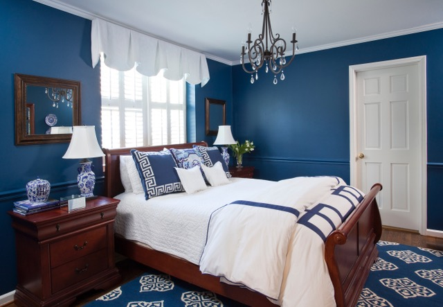 Blue bedroom from Atlanta interior designer Grayson Pratt who talks with us today about the interior design business
