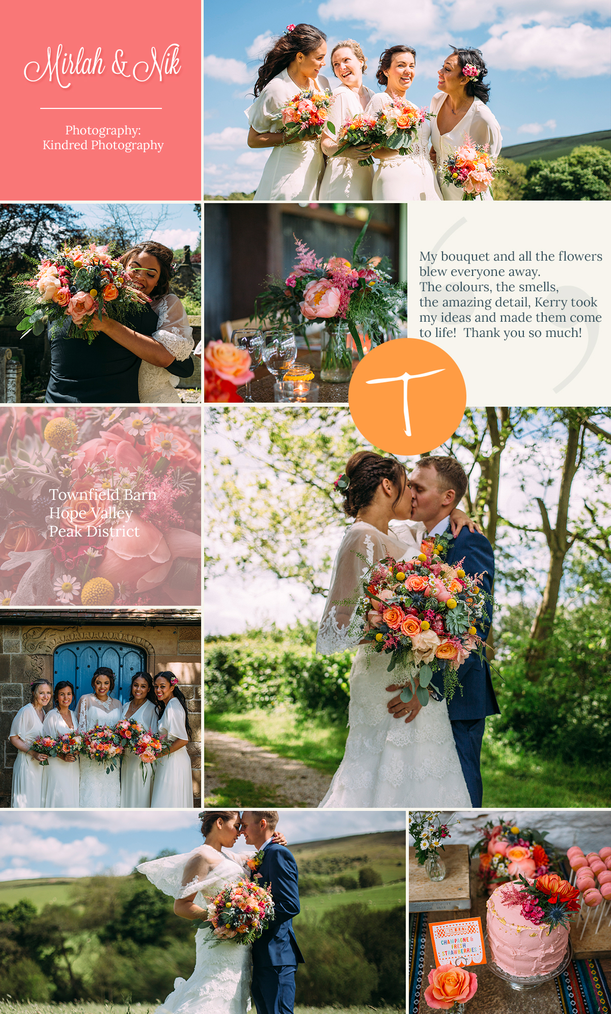 Townfield Barn, Hope Valley wedding with fun vibrant flowers by award winning florist Tineke in Derbyshire.