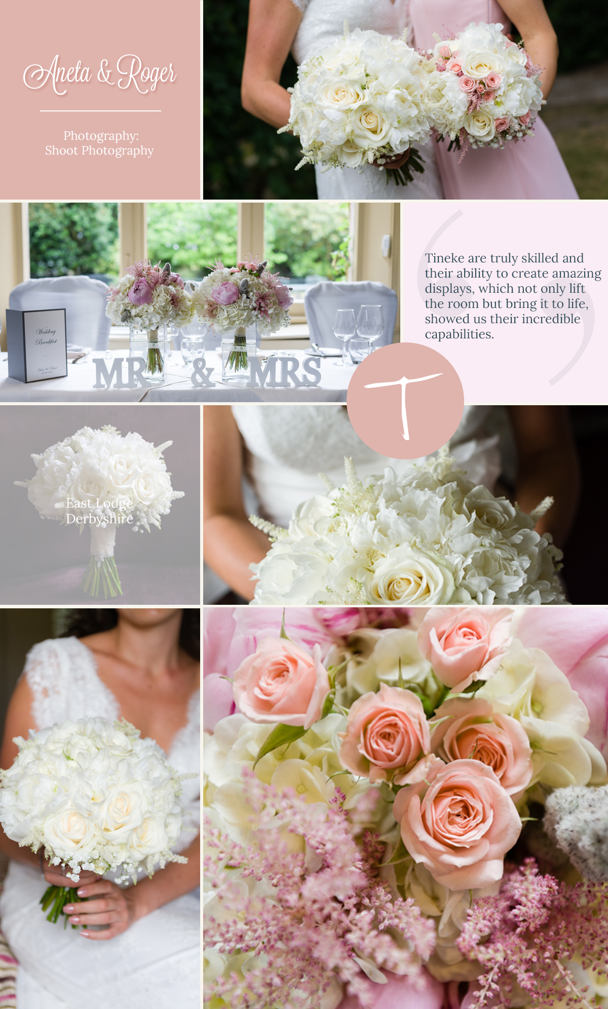 Soft pastel wedding flowers at East Lodge, Rowsley by Tineke. An award winning florist in Derbyshire.