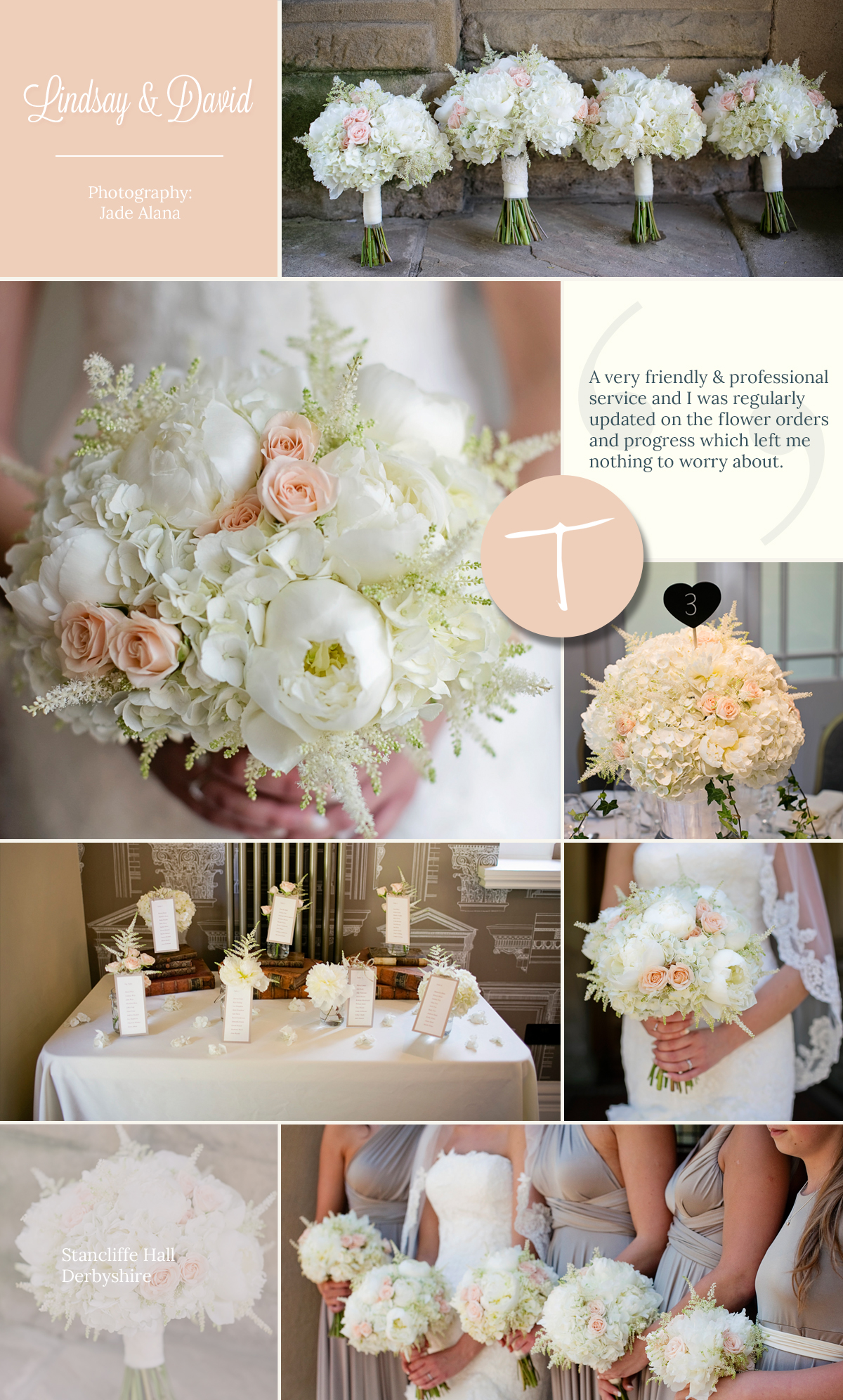 Stancliffe Hall Wedding with soft peach wedding flowers and bridal bouquet from Tineke floral design in Derbyshire