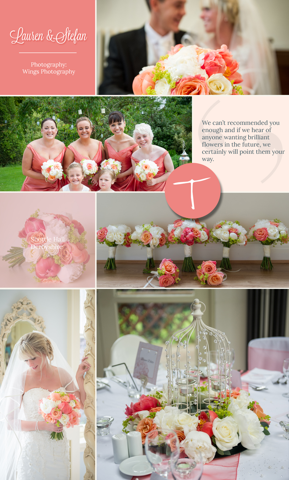 Vibrant wedding flowers with peonies for a shottle hall wedding. Designed by Tineke floral designs in Derbyshire