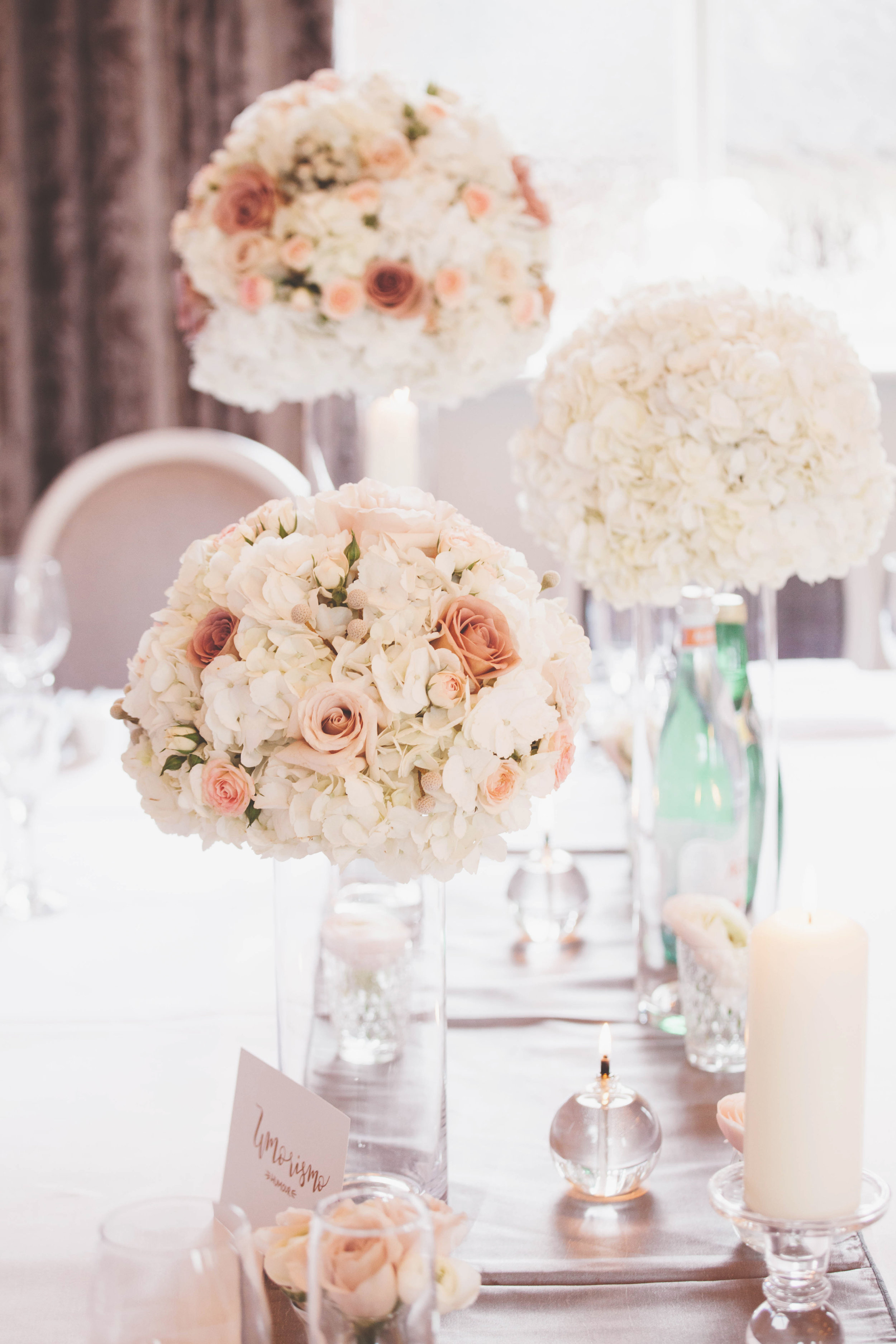 Soft pink and Hydrangea wedding floral table centrepieces at amalfi white, by award winning Derbyshire florist, Tineke