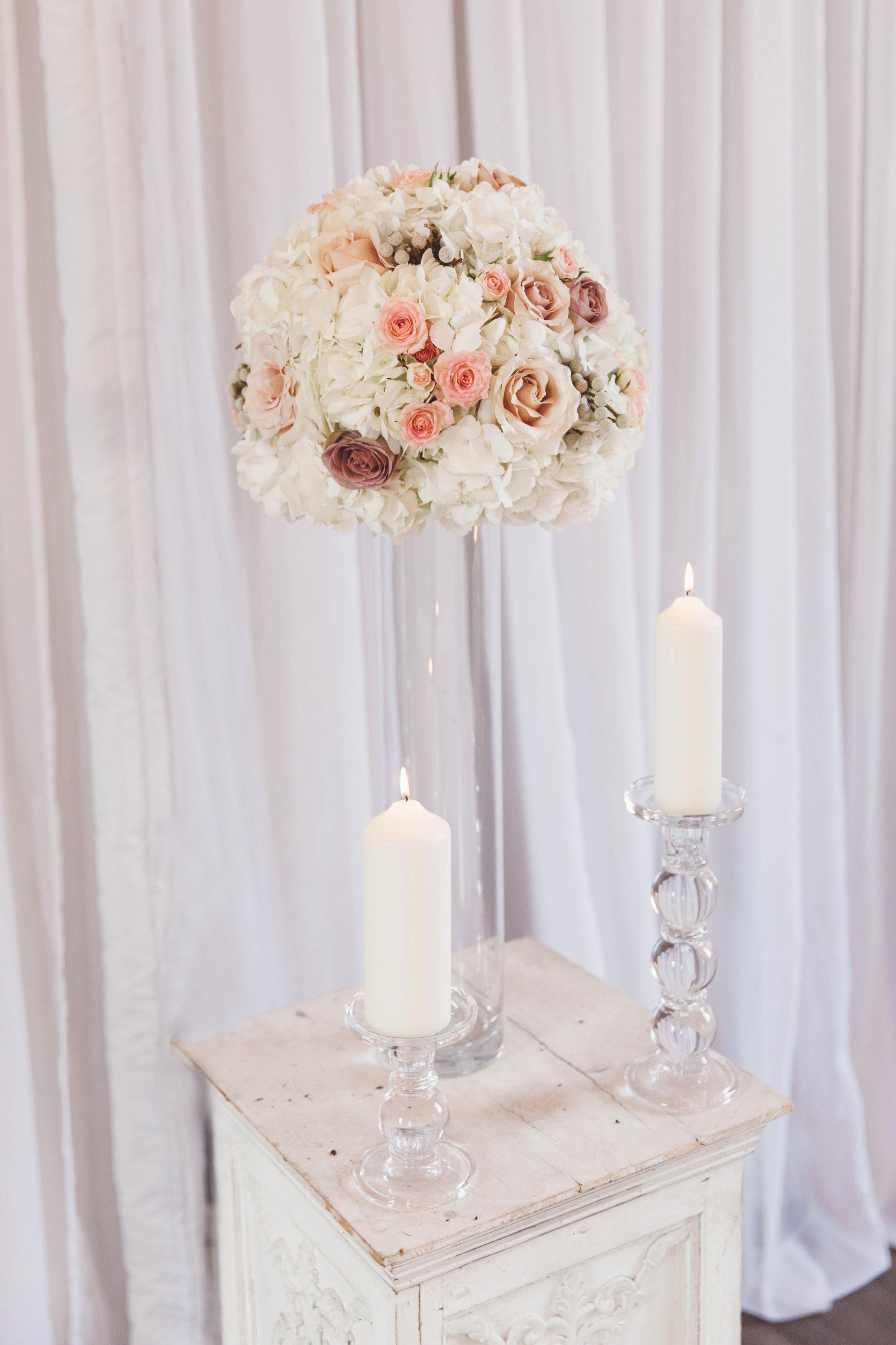 Soft pink and Hydrangea wedding floral displays at amalfi white, by award winning Derbyshire florist, Tineke