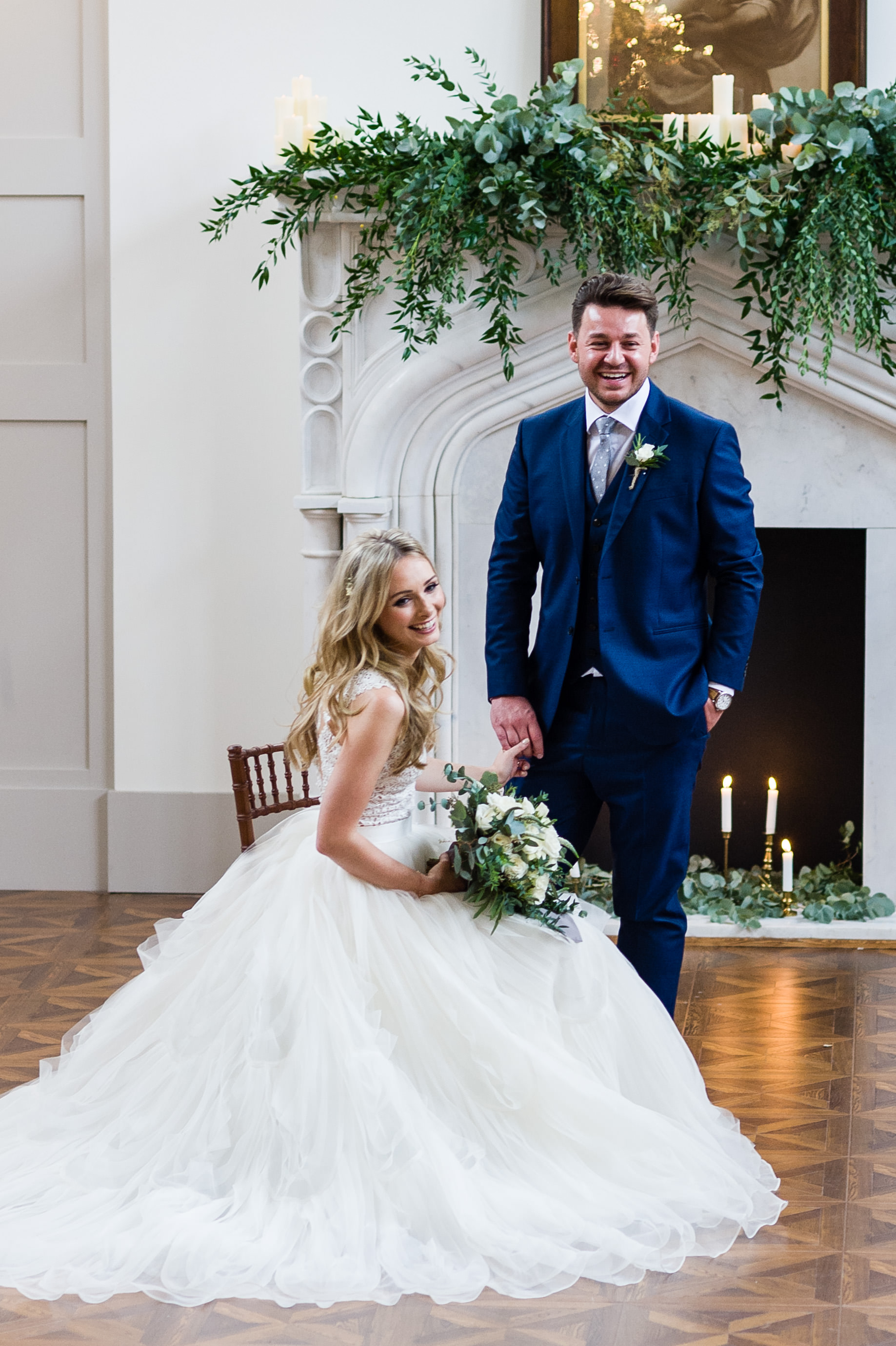 Wedding venue floral styling at Thicket Priory, Yorkshire