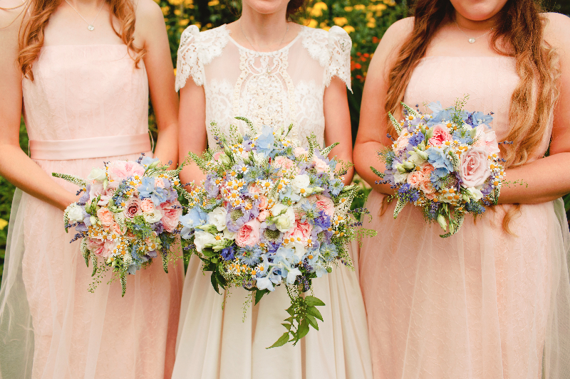 Bridal and bridesmaid bouquets for a springtime wedding from Derbyshire Florist Tineke.