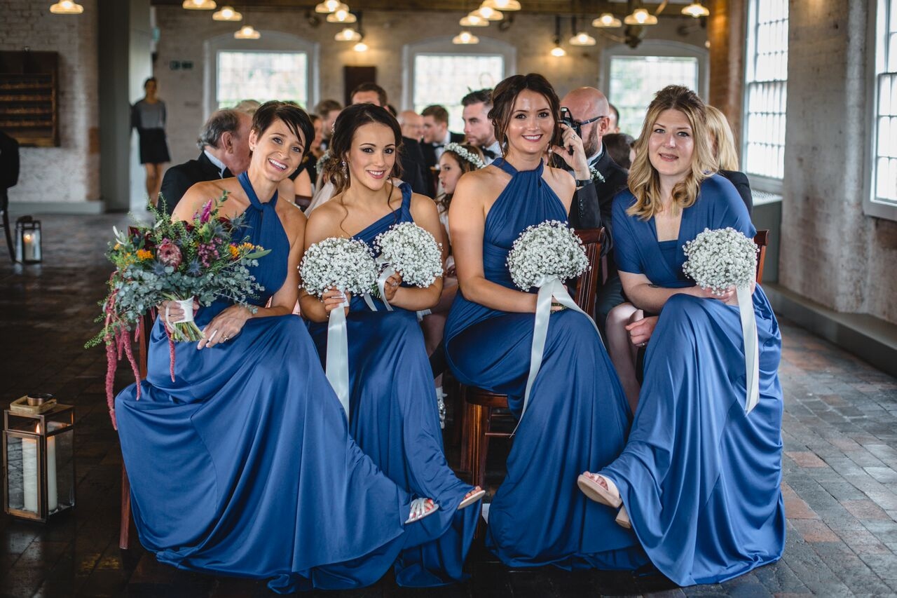 Bridal and bridesmaid bouquets and wedding flowers at West Mill Darley Abbey, Derbyshire