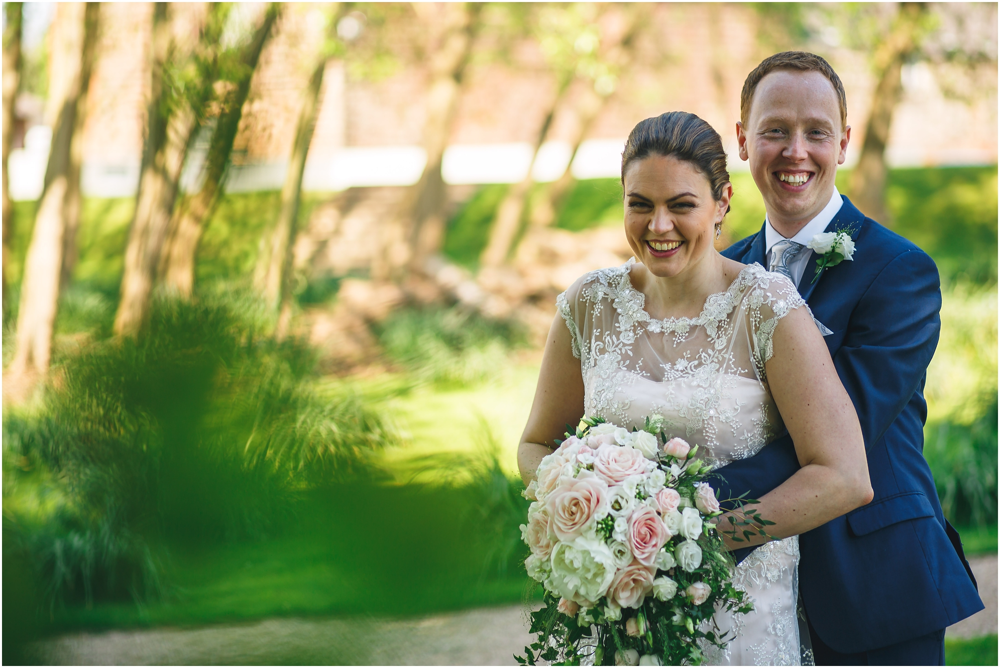 bride and groom in the west mills grounds derbyshire